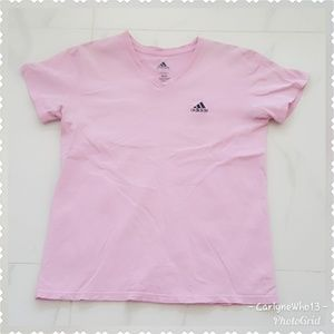 Adidas womens Classic v neck tee pink Large